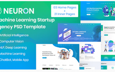 Neuron - Machine Learning & AI Startups PSD Template Nulled
