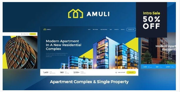 Amuli | Single & Multiple Property Real Estate WordPress Theme Nulled