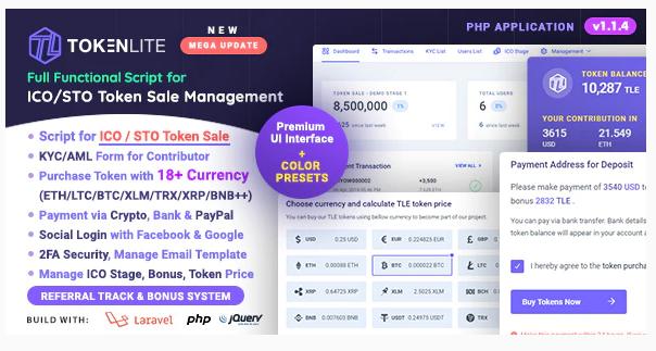 TokenLite - ICO / STO Token Sale Management Dashboard Nulled