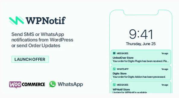 WPNotif: WordPress SMS & WhatsApp Message Notifications Nulled