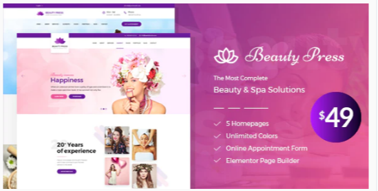Download Beauty Salon Spa WordPress Theme – BeautyPress Nulled