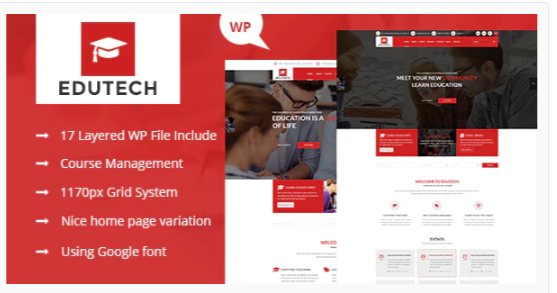 Download Edutech – Education, Course, Event & University WordPress Theme Nulled
