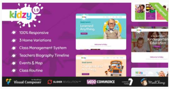 Download KIDZY – Responsive Kindergarten & Preschool WordPress Theme Nulled