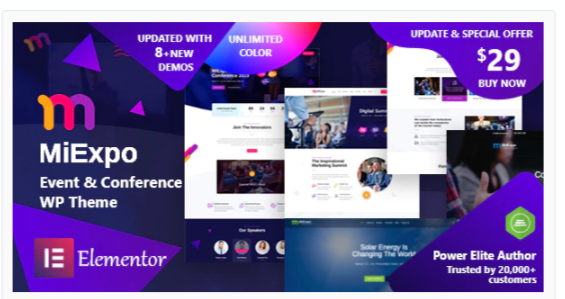 Download MiExpo | Event Conference Elementor WordPress Theme Nulled