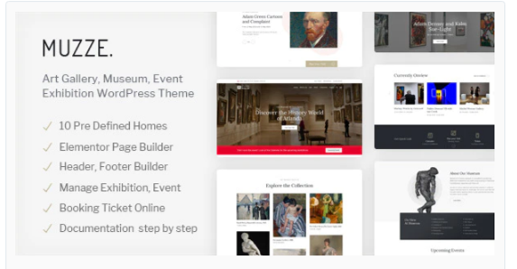 Download Muzze – Museum Art Gallery Exhibition WordPress Theme Nulled