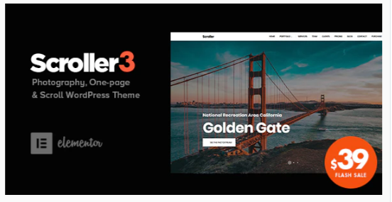 Download Scroller – Photography One Page / Multi-page WordPress Theme Nulled