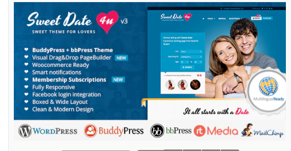 Download Sweet Date – More than a WordPress Dating Theme Nulled