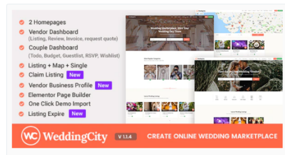 Download WeddingCity – Directory & Listing WordPress Theme Nulled