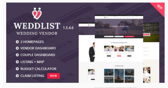 Download Weddlist – Wedding Vendor Directory WordPress Theme Nulled