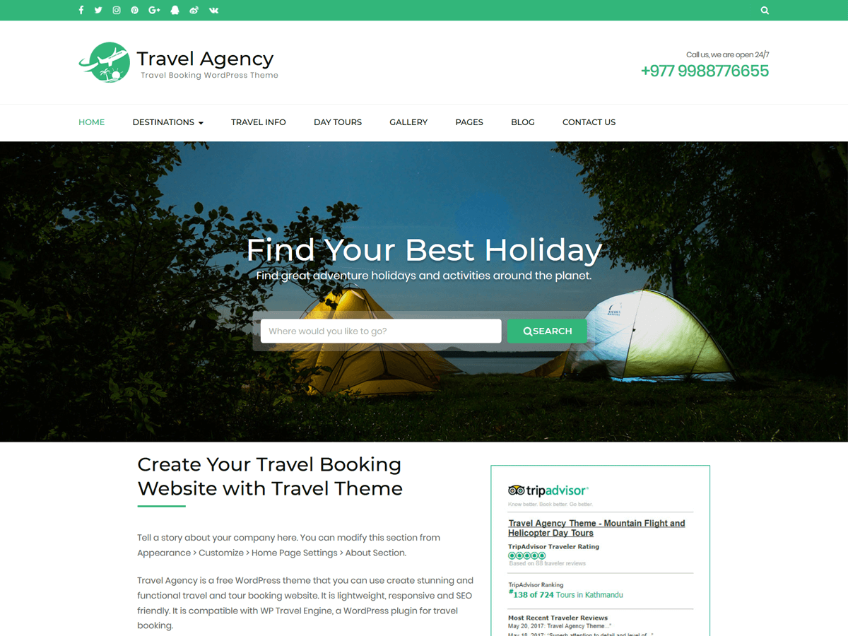 Download Travel Agency WordPress Theme Nulled